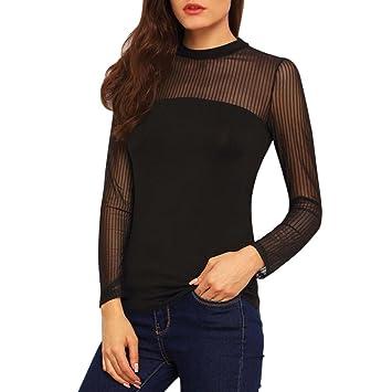 Blusa de mujer Camisa de mujer Sexy Moda Sólido Casual Suelto Elegante Delgado O-cuello