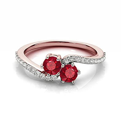 8d8c166b860d Amazon.com  1 Ct. Classic Two Stone Round Very Good Ruby And Diamond  Engagement Ring For Women