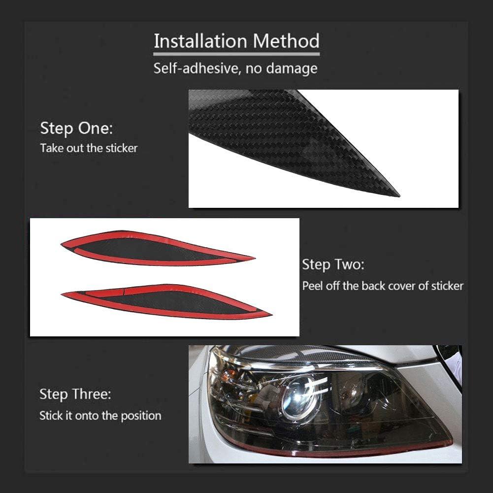 KIMISS Paupi/ère de Phare Voiture R/éal Fibre de Carbone Sourcil Garniture pour W204 Pre-Facelift 08-11
