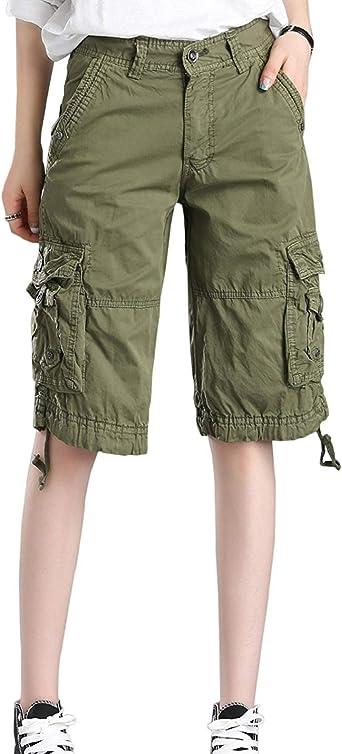 Minetom Femme Short Loose Bermuda Eté Multi Poches Confortable Shorts Cargo Yoga Plage Grande Taille Casual Genou Longueur Pantalon Capris