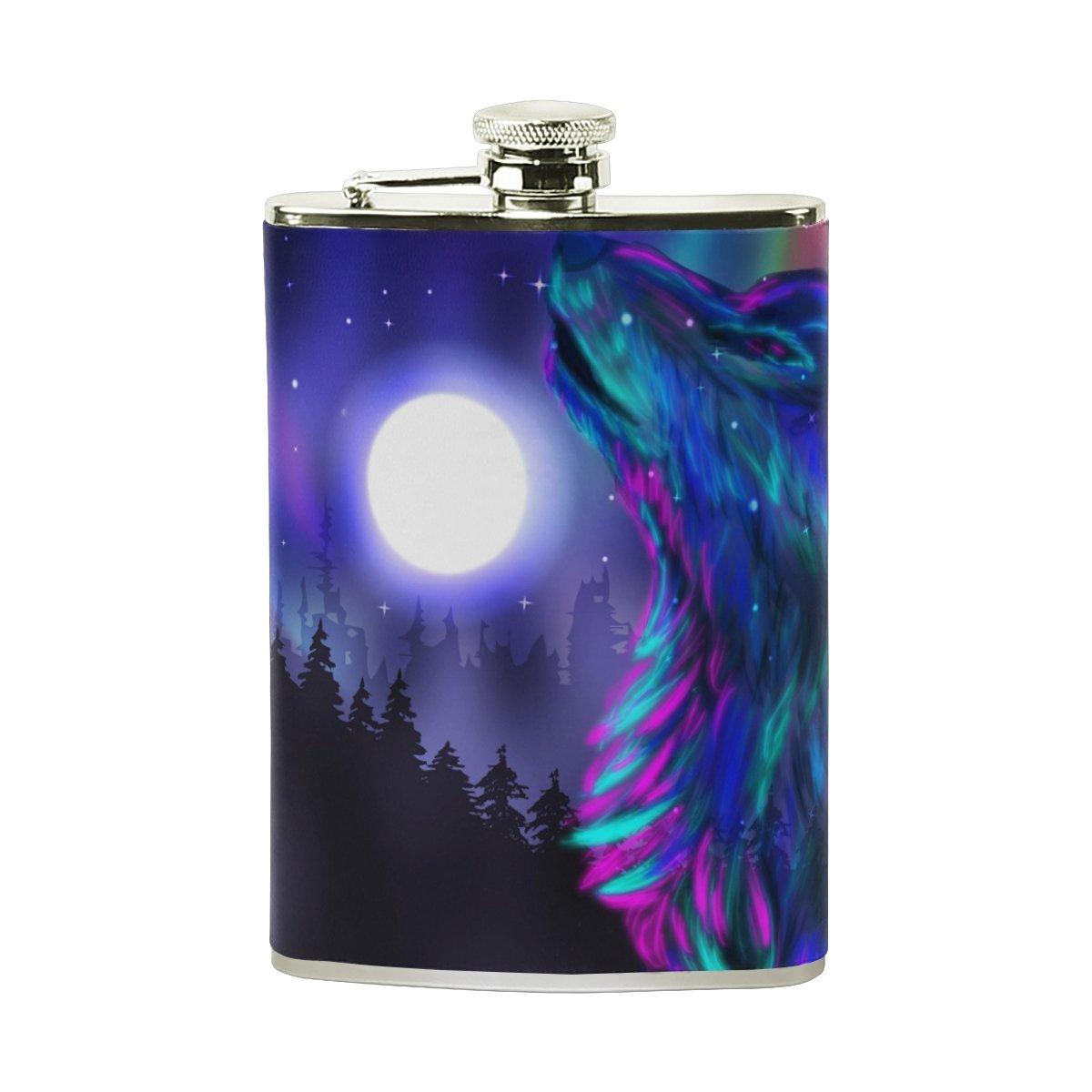 正規品販売! giovanior Cool Cool Howling Wolf Spirit B079C2P332 Moonight印刷Flasks漏れ防止ステンレススチールwith Leather WrappedカバーLiquorヒップフラスコ、8オンス Wolf B079C2P332, ピカイチ家具:142aa38e --- a0267596.xsph.ru