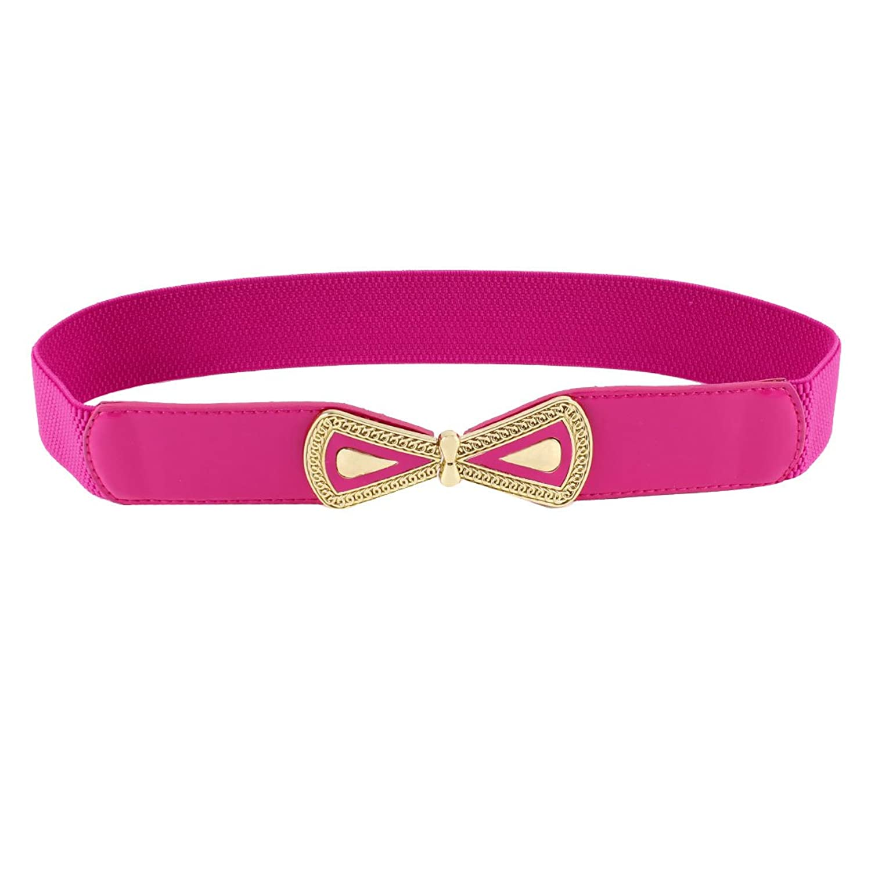 Ladies Gold Tone Bowtie Interlocking Closure Stretchy Waistband Cinch Belt