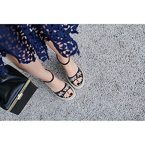Donna Raso Zeppa KJJDE L0913 Sandali Di Panno Suola Tacco Piattaforma Di Alta Donna WSXY Slipsole Gomma Black Ricamato wq5wtaxz