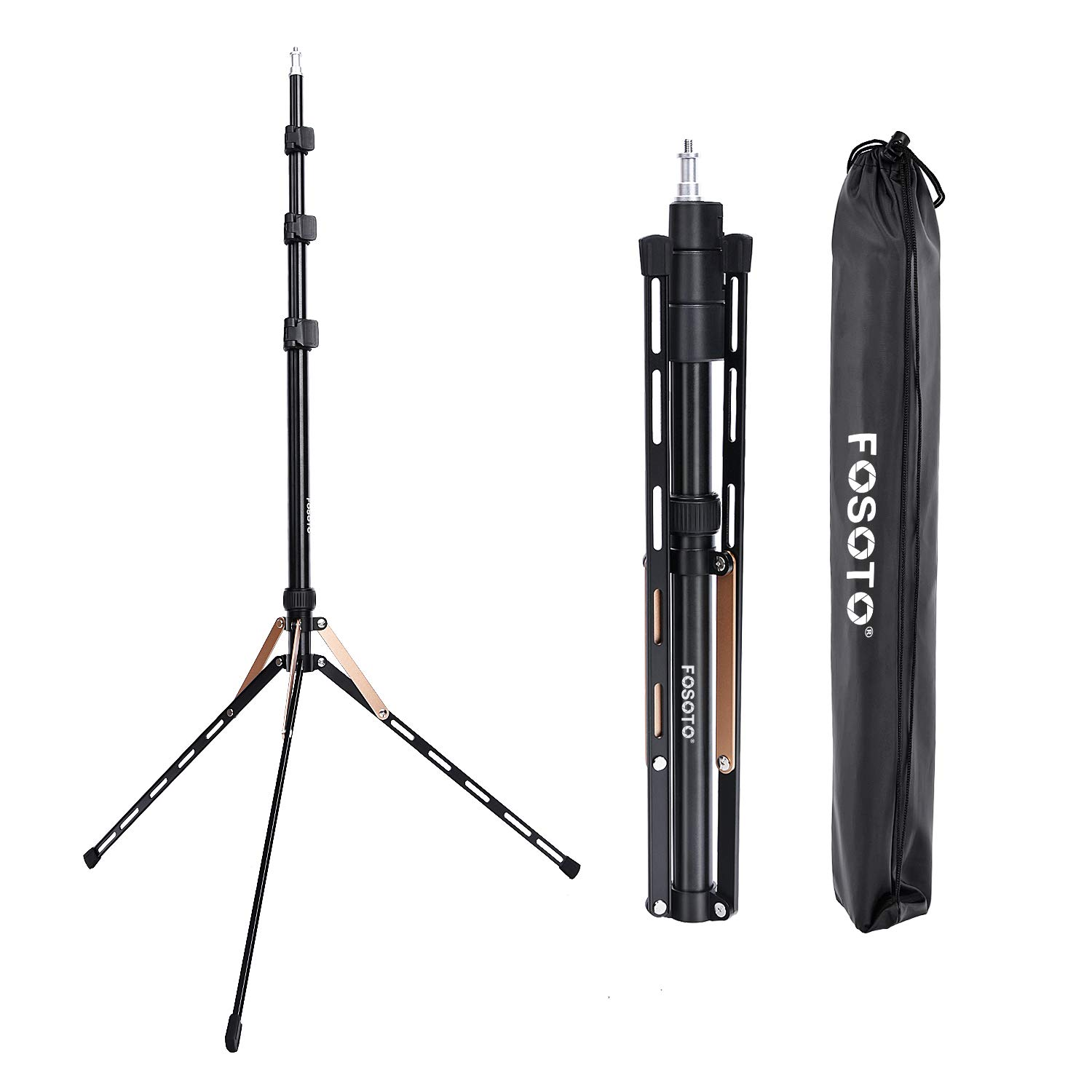 FOSOTO 75in Fold Video Tripod Light Stand Super Lightweight Compact for Ring Light, Speedlight, Flash, Umbrella, Softbox, Filming Product Portrait Shooting Lighting Stand by FOSOTO