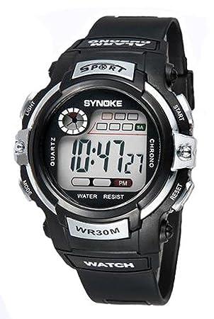Reloj de Pulsera para Niños Redondo Reloj Digital con Funciones de Cronómetro Cronógrafo Alarma y Pantalla Luminosa - Plata: Amazon.es: Deportes y aire ...