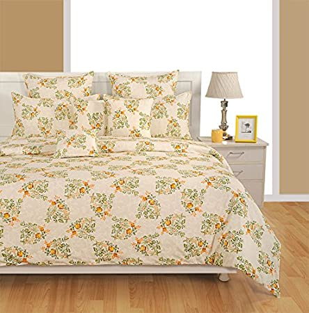 Swayam Off White And Yellow Colour Floral Extra Large Bed Sheet With Pillow  Covers GS