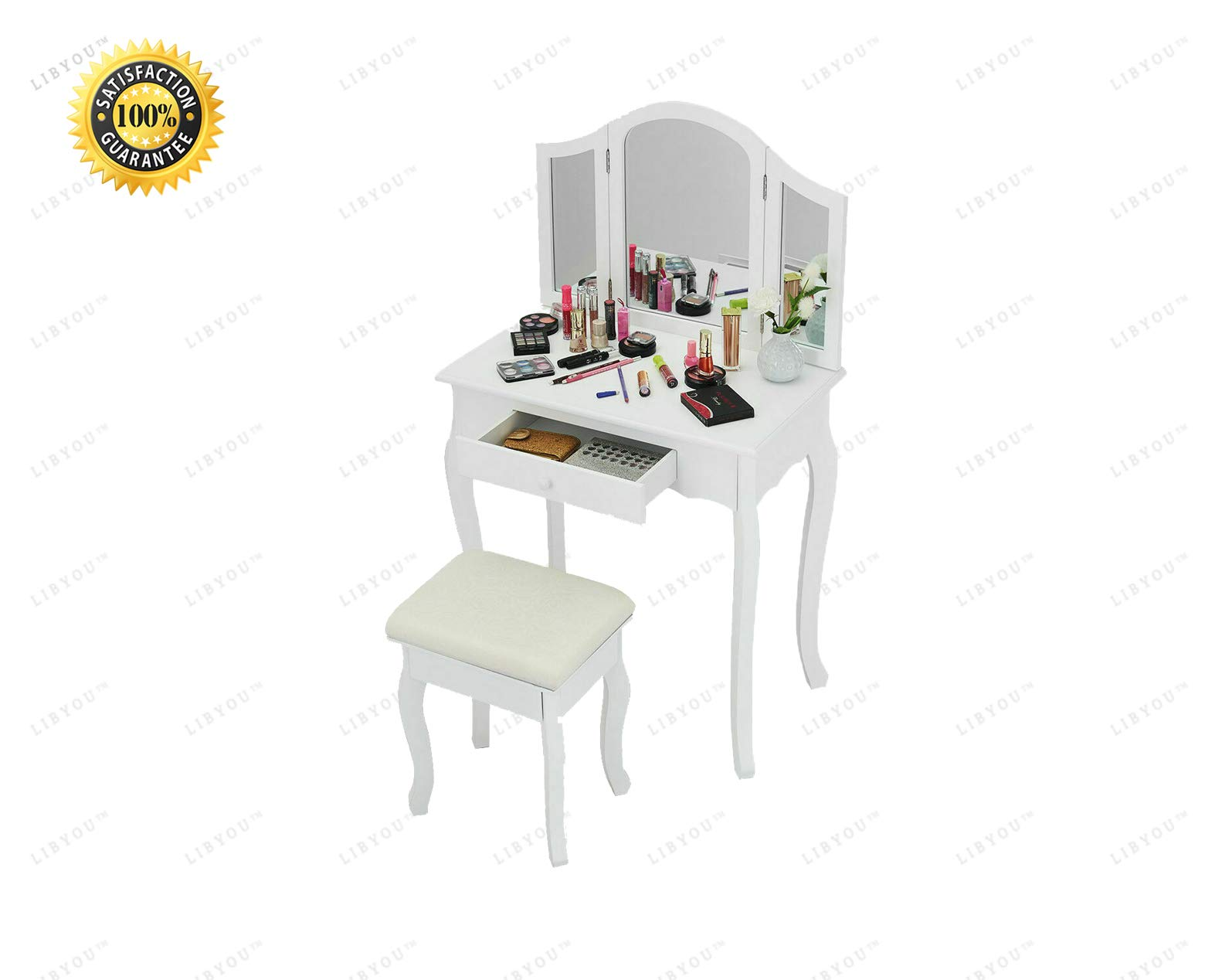 LIBYOU__Dressing up Table,Vanity Makeup Table and Stool Set,Tri Folding Mirror Vanity Makeup Table Set,Home Vanity Desk with Drawers,Makeup Table Stool Set,Makeup Dressing Table Set