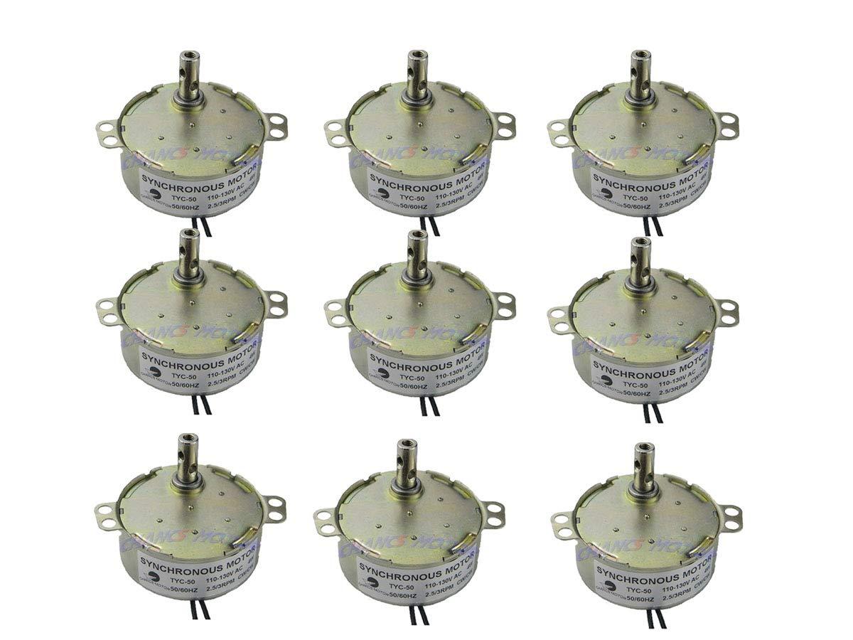 2PCS CHANCS 小型交流モーター 110V 2.5/3R/MIN CW/CCW トルク4Kg.cm 4W パワー歯車モーター オーブン用、ファン 2PCS (9PCS 2.5/3RPM) B07S74MYT9  9PCS 2.5/3RPM