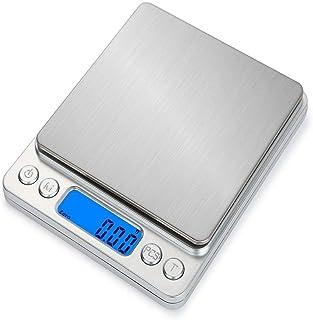 HT-I200 portatile diaplay LCD Digital Kitchen Scale in acciaio inox elettronica cibo bilance peso dei monili di 0.1gx di 1000g (argento)