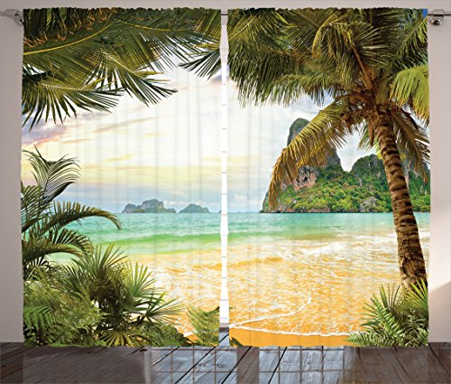 Ambesonne Ocean Decor Curtains, Palm Coconut Trees and Ocean Waves Across Mountains On Paradise Island Beach Image, Living Room Bedroom Decor, 2 Panel Set, 108 W X 84 L inches, Green Cream