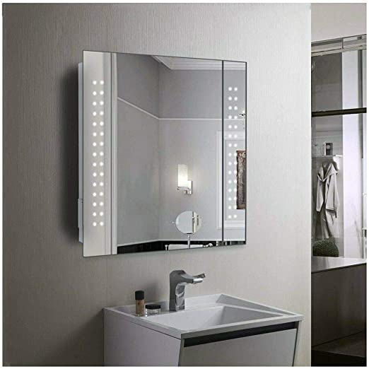 60 Led Light Bathroom Mirror Cabinet Shaver Socket Demister Sensor Galactic Amazon Co Uk Lighting