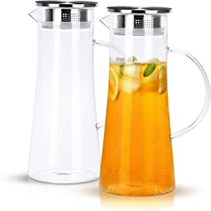 CREATIVELAND 1.4 Liter 47 Ounces High Borosilicate Glass Carafe/Pitcher with Stainless Steel Flip-top Lid,Hot/Cold Water Jug,Juice/Iced Tea,Wine,Coffee,Milk Beverage Carafe.