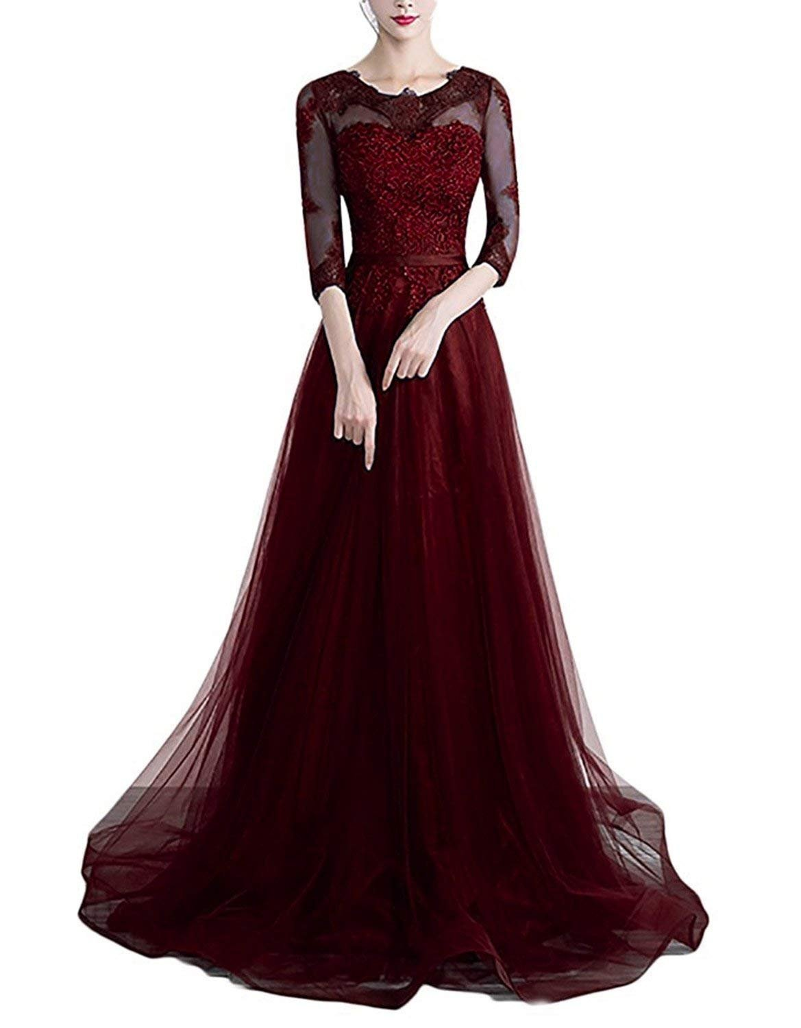 457970b51c3 tutu.vivi Women s A-Line 3 4 Sleeves Lace Bridesmaid Dresses Tulle Long Formal  Evening Gowns Burgundy Size18W