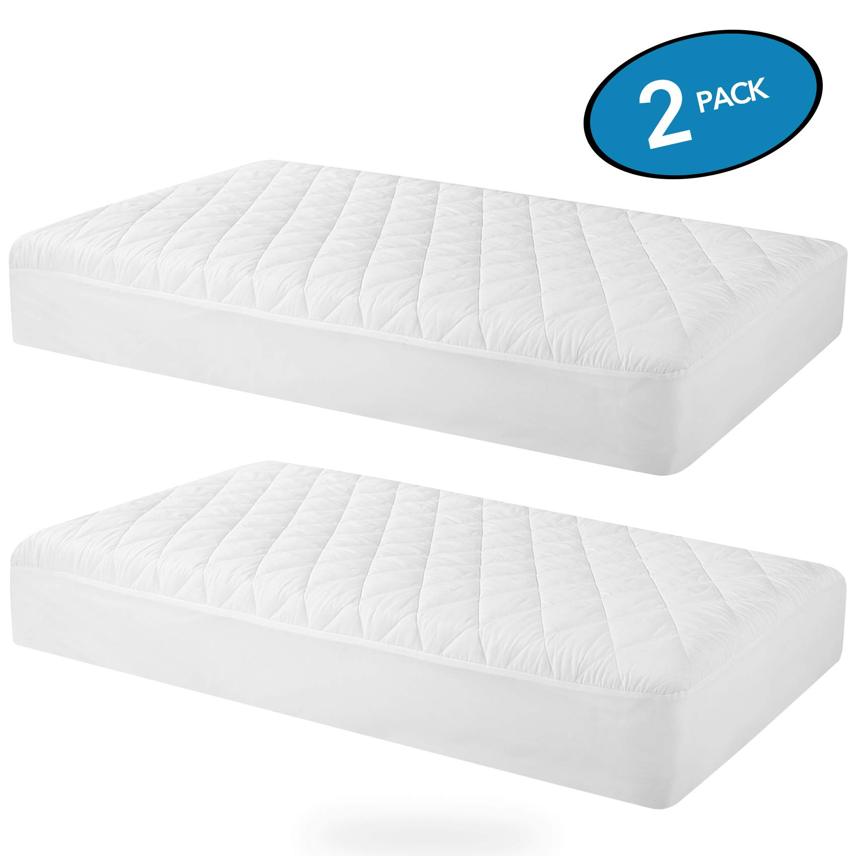 MoMA Waterproof Crib Mattress Cover (Set of 2) - 52''x 28'' White Crib Mattress Protector - Soft Fitted Baby Crib Mattress Pad with 9-inch Pocket - Hypoallergenic Polyester Toddler Mattress Pad by MoMA