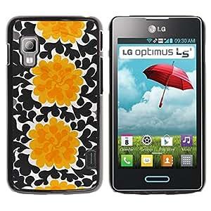 iKiki Tech / Estuche rígido - Flowers Black Wallpaper Art - LG Optimus L5 II Dual E455 E460