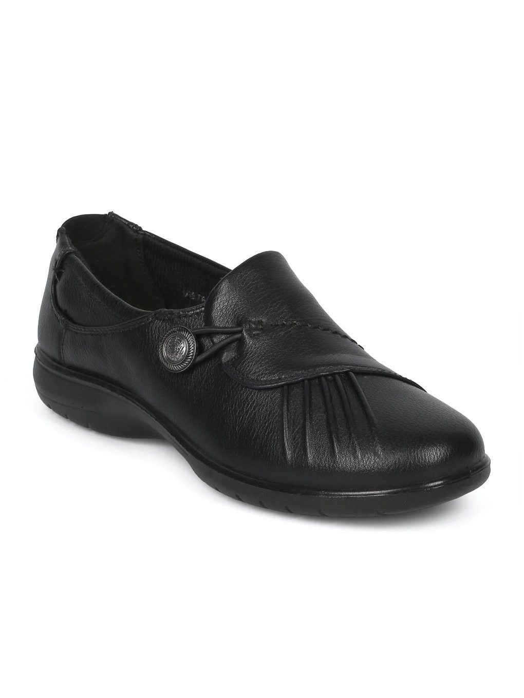 Alrisco Leatherette Pleated Elevated Heel Working Shoe HD93 - Black Leatherette (Size: 6.5)