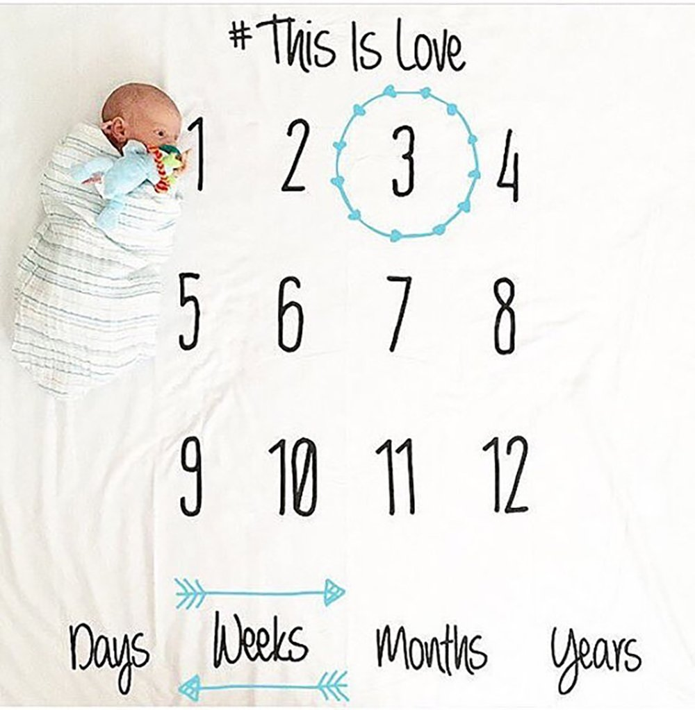 Baby Growth Milestone Blanket Photography Background Prop Photo Shoots Backdrop For Newborn Growing Infants Toddlers Baby Shower Gift - Love Ohomr
