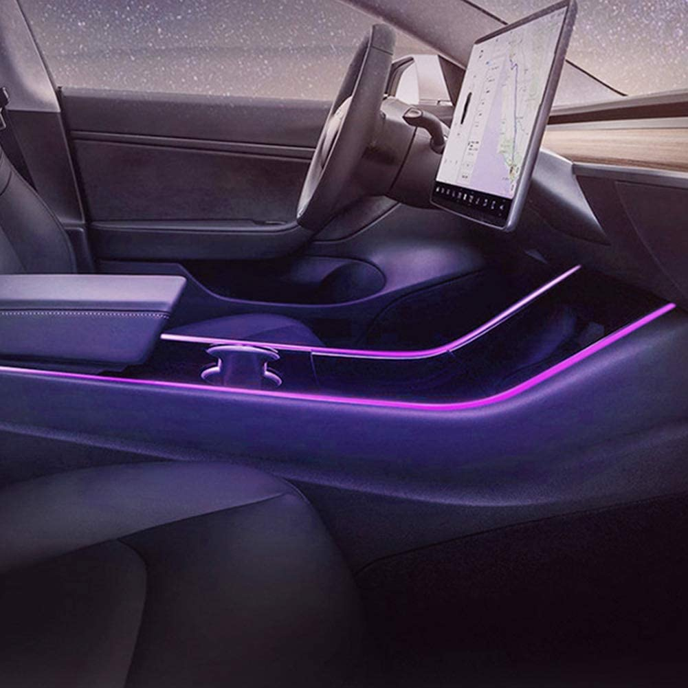 16 Million Colors Center Console Light Neon Light Tubes with APP Controller Tesla Model 3 Model Y Car Interior LED Strip Lights