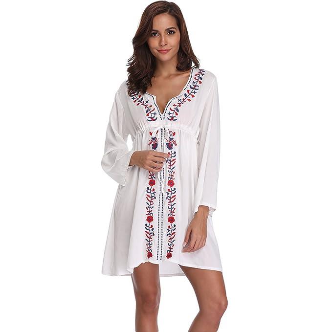 bbbbb9f8b3db6 Lynddora Women's Bathing Suit Cover up Crochet Backless Bikini Swimsuit  Dress (White Floral)