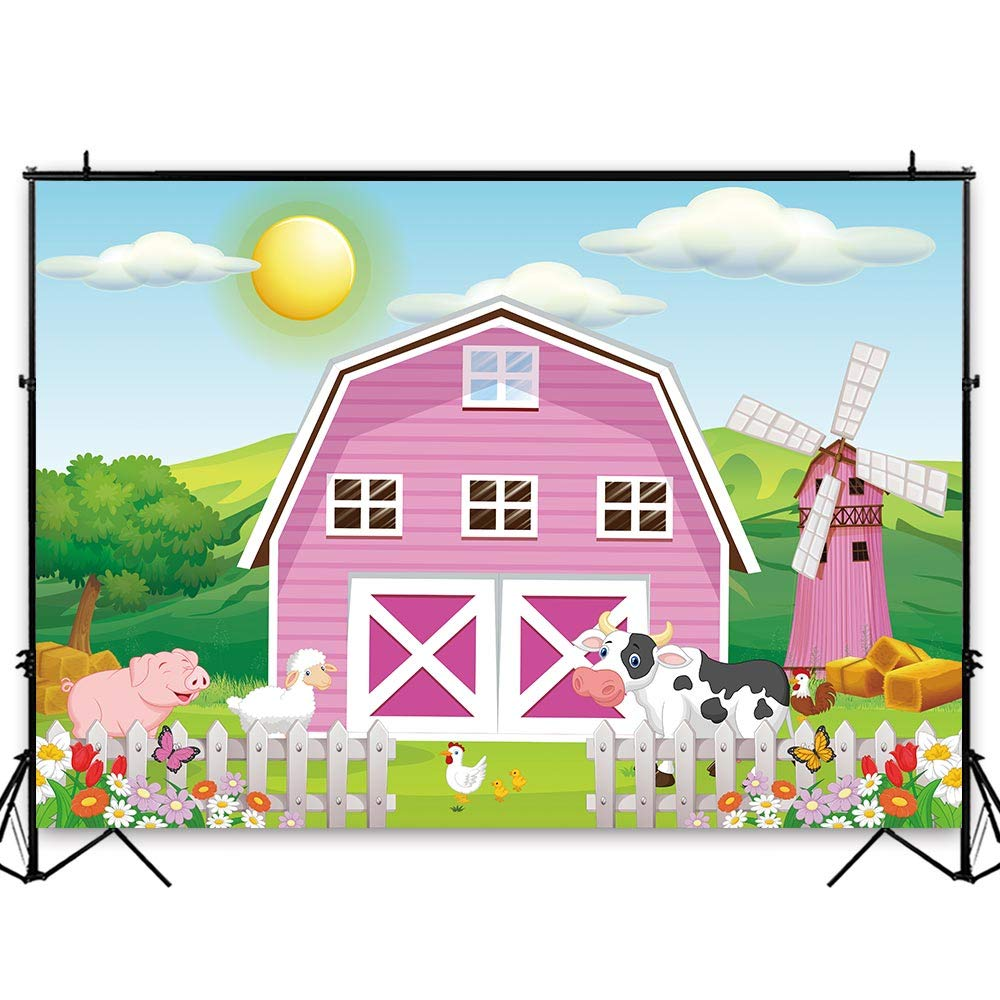 Funnytree 8x6ft Durable Fabric Cartoon Farm Animals Party Backdrop No Wrinkles Pink Barn Girl Baby Shower Birthday Photography Background Rustic Barnyard Scenic Banner Decoration Photo Booth Props