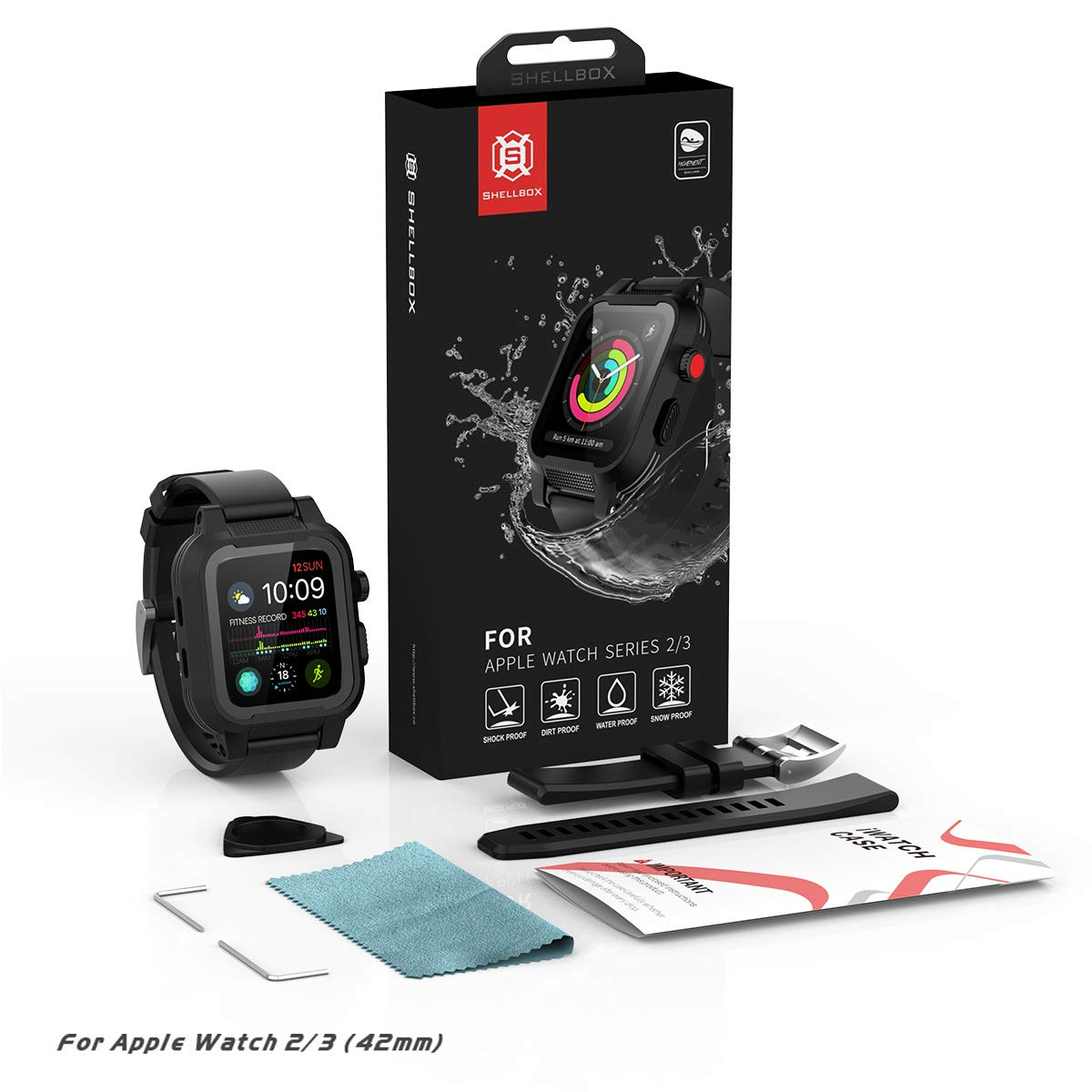 [Waterproof Case for 42mm] AIUERU IP68 Waterproof Watch Case, Full Sealed waterproof iWatch Case with Resilient Shock Absorption for 42mm iWatch Series 3 and 2, Package with 2 Soft Silicone Watch Band by ShellBox (Image #8)