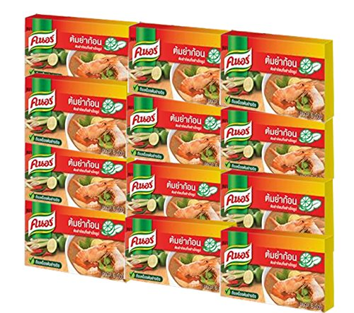 Knorr Tom Yum Cube, Sour/Spicy, 24 Gram (Pack of 12)