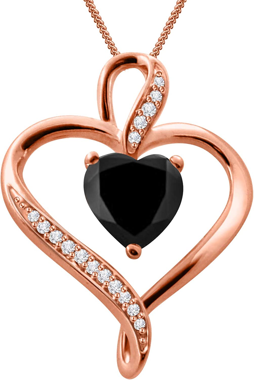 18 inch Diamond Scotch Round Simulated Diamond Cubic Zirconia Infinity Heart Pendant Necklace in 14k White Gold Over