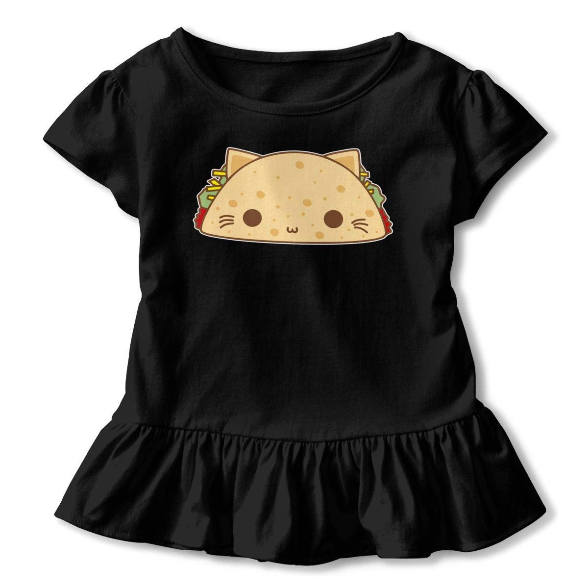 Kawaii Blouse Clothes with Falbala 2-6T PMsunglasses Short-Sleeve Taco Cats T-Shirts for Kids