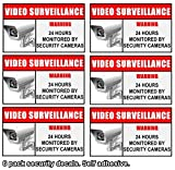INDOOR (6 Pack) Home Business Security DVR Camera Video Surveillance System Window Door Warning Alert Sign Sticker Decals ** No Direct Sunlight Exposure to prevent color from fading **