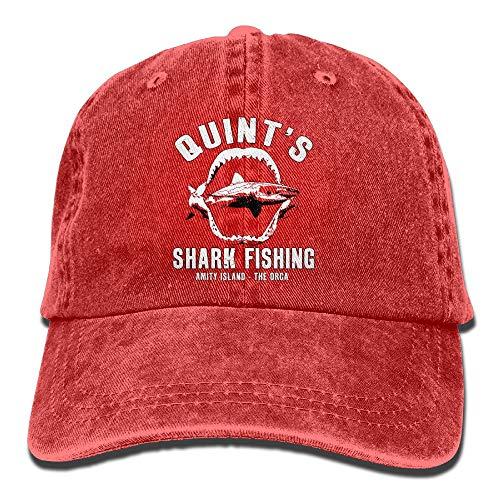 (Quint's Shark Fishing Washed Retro Adjustable Denim Hats Baseball Cap For Adult Unisex)