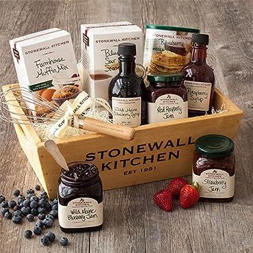 Stonewall Kitchen Berry Breakfast Gift Basket (9 Piece Wood Gift Box Set)