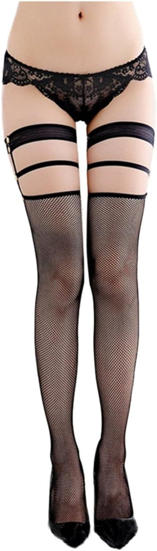 RICHTOER Womens Fishnet Suspender Stockings Hold-Up Thigh Highs Hosiery