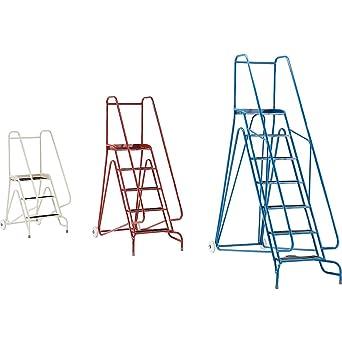 Escalera de escalón, móvil, con recubrimiento en polvo, 7 pasos, altura de la plataforma, 1750 mm, color gris: Amazon.es: Industria, empresas y ciencia