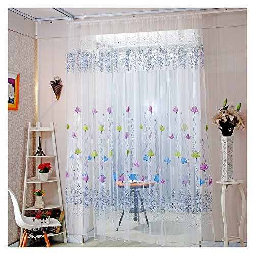 Litetao Lotus Sheer Soft Curtain Tulle Modern Window Treatment Voile Drape Valance For Home/Office Decor (Voile Tour Light)