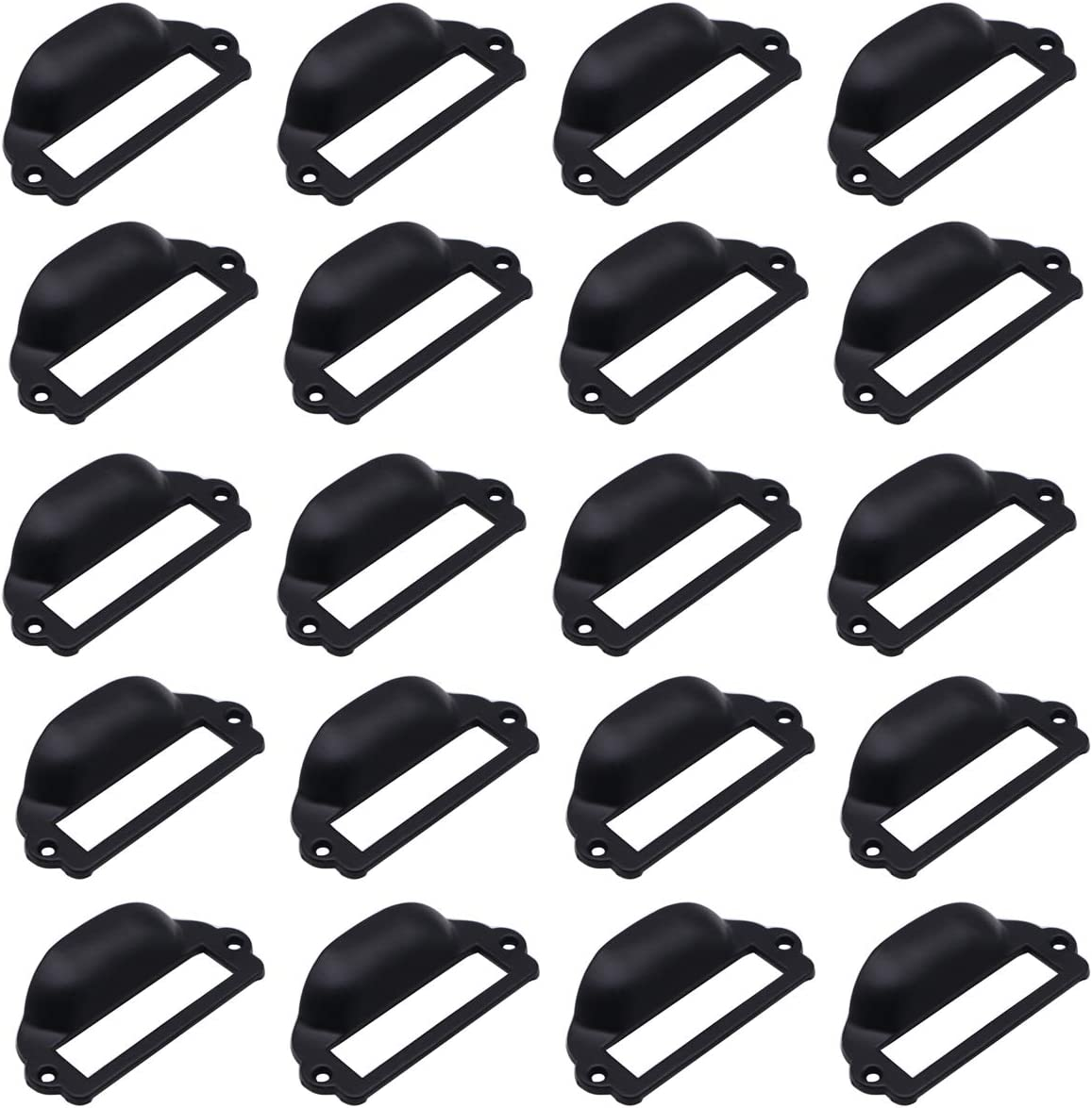 LepoHome 20 Pieces 82x40mm Black Card Holder Drawer Pull/Label Frames Card/Tag Pull/Cabinet Frame Handle/File Name Card Holder for Office Furniture Cupboard Cabinet Drawer Box Case Hardware