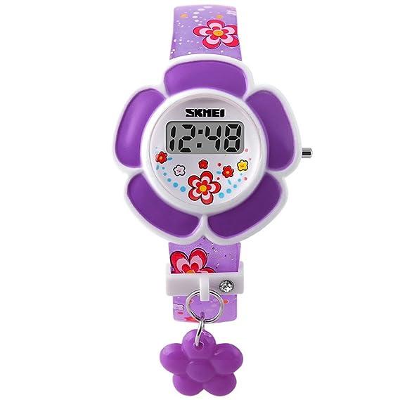 86661aed8835 SKMEI - Reloj Digital LED Infantil Reloj Electrónico de Cuarzo Forma de  Flor para Niñas Estudiantes Reloj Princesa Correa de PU Estampado de Flores  ...
