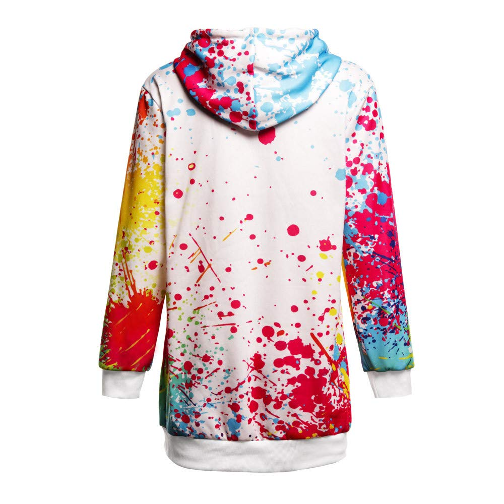 WM /& MW Long Sweatshirt,Womens Long Sleeve Colorful Tie Dye Print Hooded Sweatshirt Dress Pullover Hoodie Coat Tops