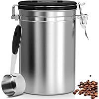 Airtight Coffee Canister, Stainless Steel Coffee Container with Scoop, CO2 Vent Valve and Date Tracker Wheel, Storage Vault for Whole/Ground Coffee Bean, Keeps Your Coffee Fresh - Large