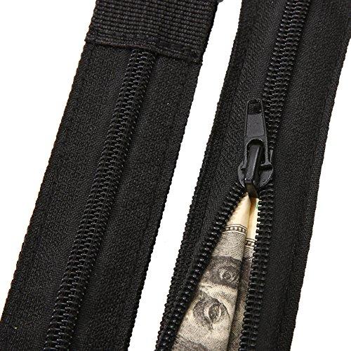 Broadroot 1PCS nuovo nascosto da viaggio marsupio denaro cintura in pelle con zip tasca segreta di sicurezza proteggere ticket accessorio per campeggio viaggi, escursioni