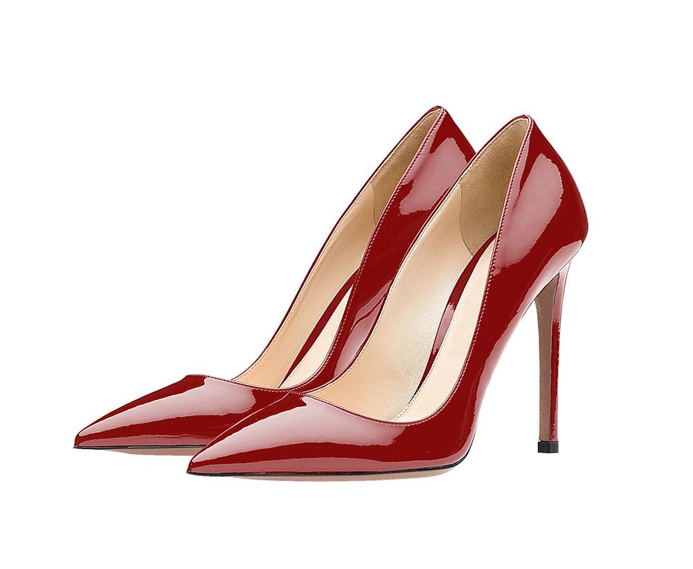 SexyPrey Women's Pointy Toe Stiletto Shoes Formal Office Evening Pumps B074M51NRR 5 B(M) US|Deep Red