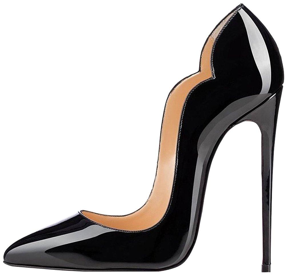 Calaier Mujer Cabeach Tacón De Aguja 12CM Sintético Ponerse Zapatos de tacón 41.5 Negro