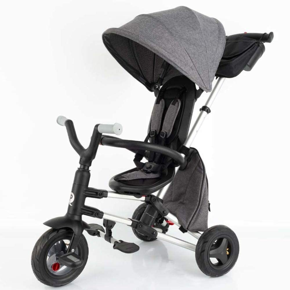QPLAY - Triciclo Bebe Nova+ Gris - Evolutivo - Plegable - Arnés de Seguridad - Capota con protección UV - Ideal para niños de 10 a 36 Meses (máximo 25 Kg)