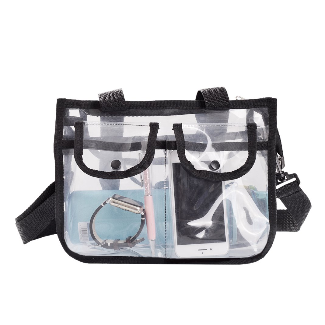 Clear Tote Bag NFL & PGA Stadium Approved Crossbody Messenger Shoulder Bag with Adjustable Strap and Zippered Top, Travel and Gym Clear Tote Bag XSTDB3001