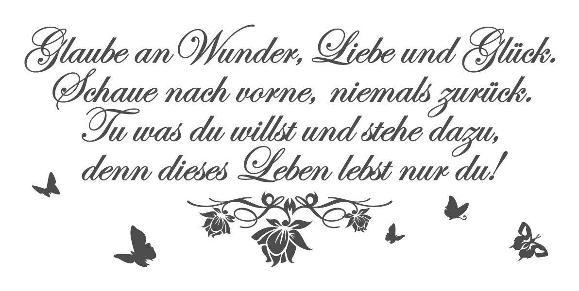 Dekodino Wandtattoo Glaube Glaube Glaube an Wunder, Liebe und Glück. Schaue nach vorne, niemals zurüc B00K0GFABI Wandtattoos & Wandbilder 958b64