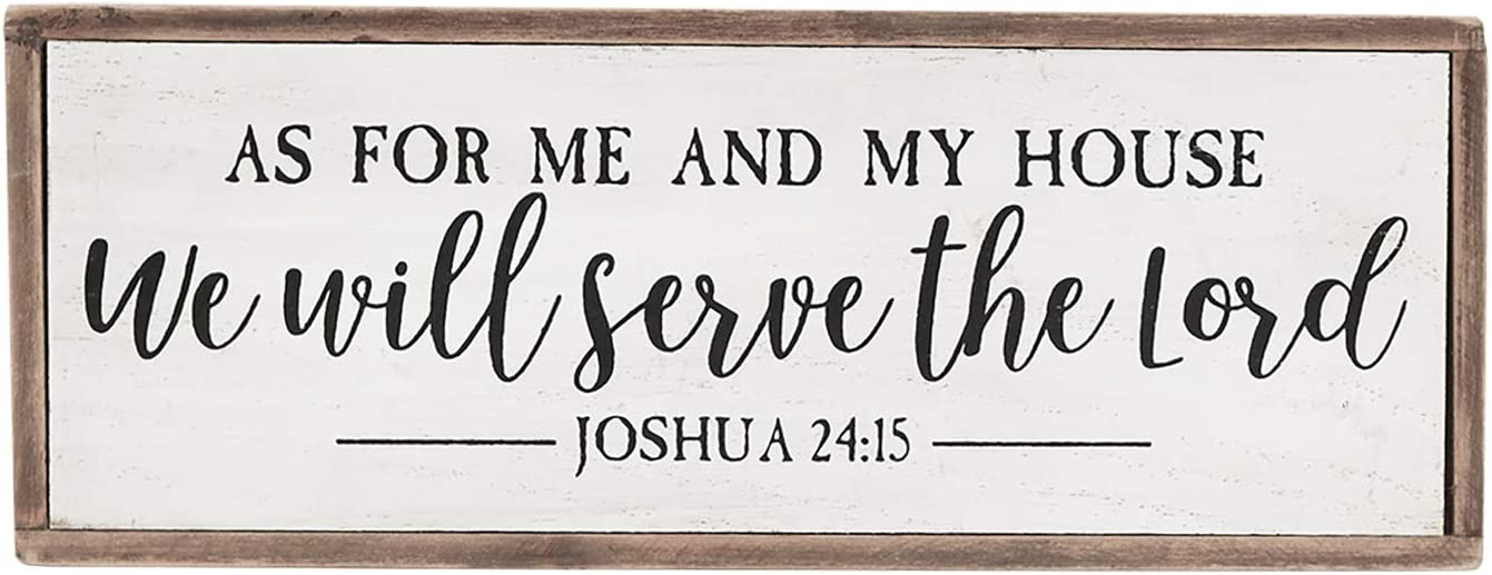 Mini Wooden Block Prayer Sign - As for Me and My House We Will Serve The Lord, Bible Verse Home Decor, Rustic Farmhouse Christian Wall Decor, 9.6