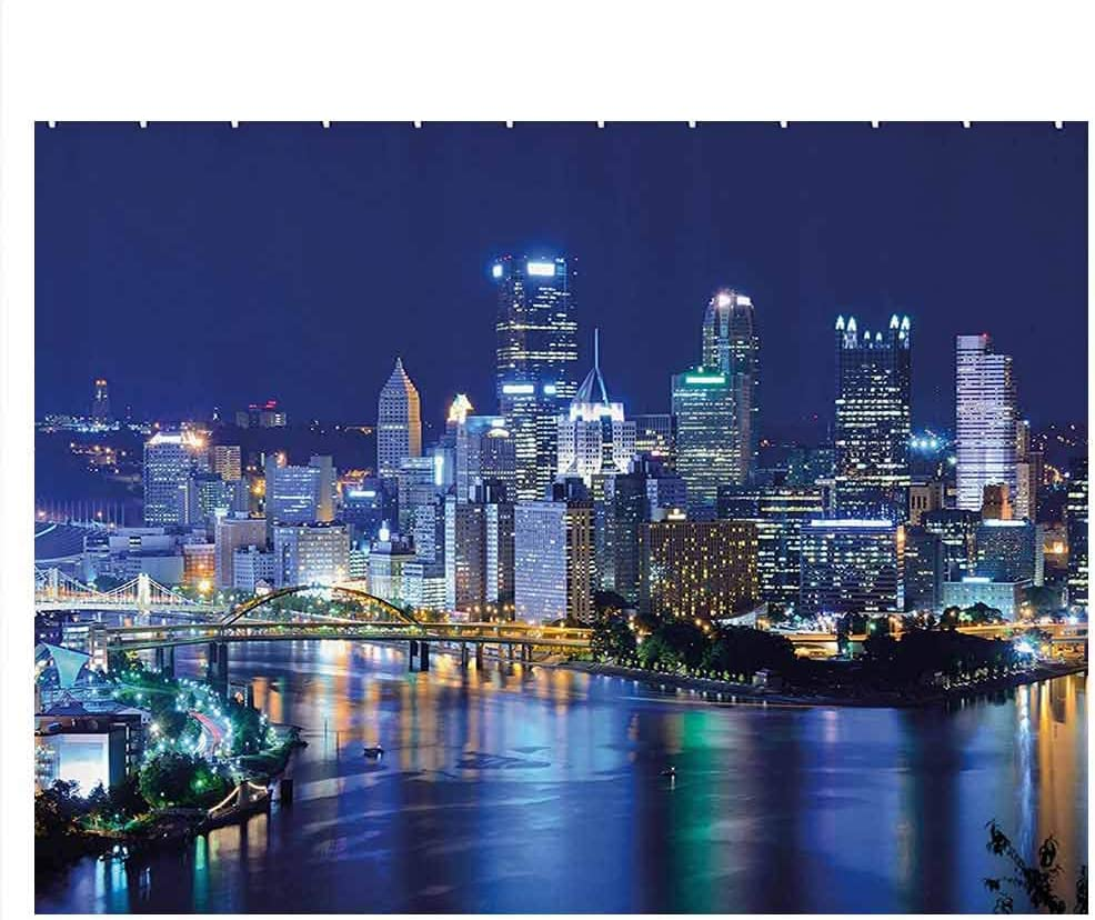 ScottDecor Cityscape Fish Tank Poster Skyscrapers Downtown Pittsburgh USA American Night Skyline Business Town Scenery Fish Tank Background Decor Grey Blue W48 x L18 Inch