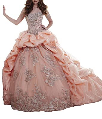 BaoSai Womens Vestidos 15 Prom Ball Gowns Appliques Sweet 16 Quinceanera Dresses 0 US Peach