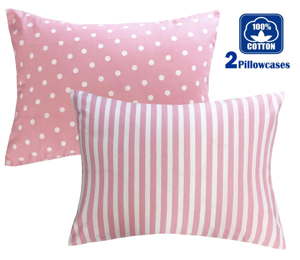 FUMAN 100% Organic Cotton Toddler Pillowcases Set of 2, Soft and Breathable, 13''x 18'', Pink