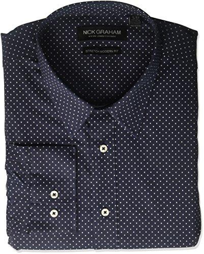 Nick Graham Men's Printed Dot Stretch Dress Shirt, Navy, 14.5