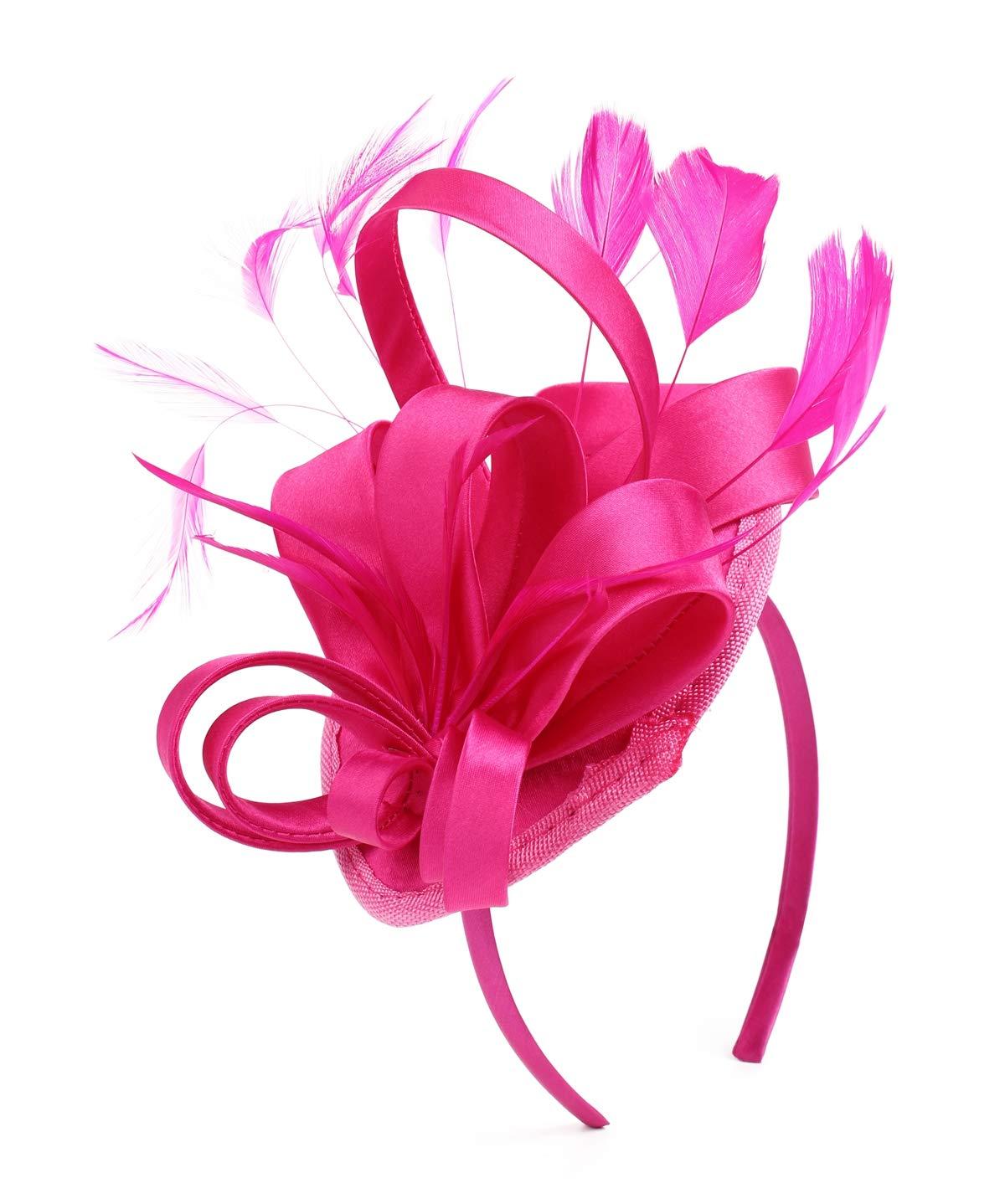 Felizhouse Fascinator Hats for Women Ladies Feather Cocktail Party Hats Bridal Headpieces Kentucky Derby Ascot Fascinator Headband (#1 Satin Fuchsia)